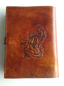 A4 Leather Journal Cover - Celtic Welsh Dragon - Brown