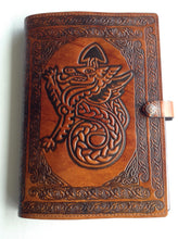 Load image into Gallery viewer, A4 Leather Journal Cover - Celtic Welsh Dragon - Brown
