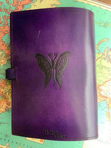 A4 Leather Journal Cover - Celtic Shy Fairy with circling Fairies - Purple