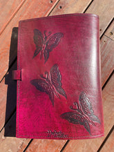 Load image into Gallery viewer, A4 Leather Journal Cover - Celtic Fairies with double wave of Life border - Burgundy