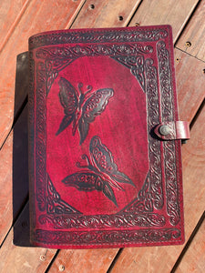 A4 Leather Journal Cover - Celtic Fairies with double wave of Life border - Burgundy