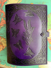 Load image into Gallery viewer, A4 Leather Journal Cover - Celtic Shy Fairy with circling Fairies - Purple