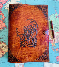 Load image into Gallery viewer, A4 Leather Journal Cover - Celtic Dragon 3 - Brown