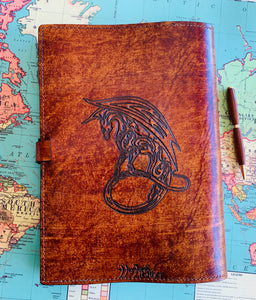 A4 Leather Journal Cover - Celtic Dragon 3 - Brown