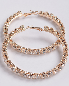 Gold Rhinestones Hoop Earrings - BeautyByBrinae
