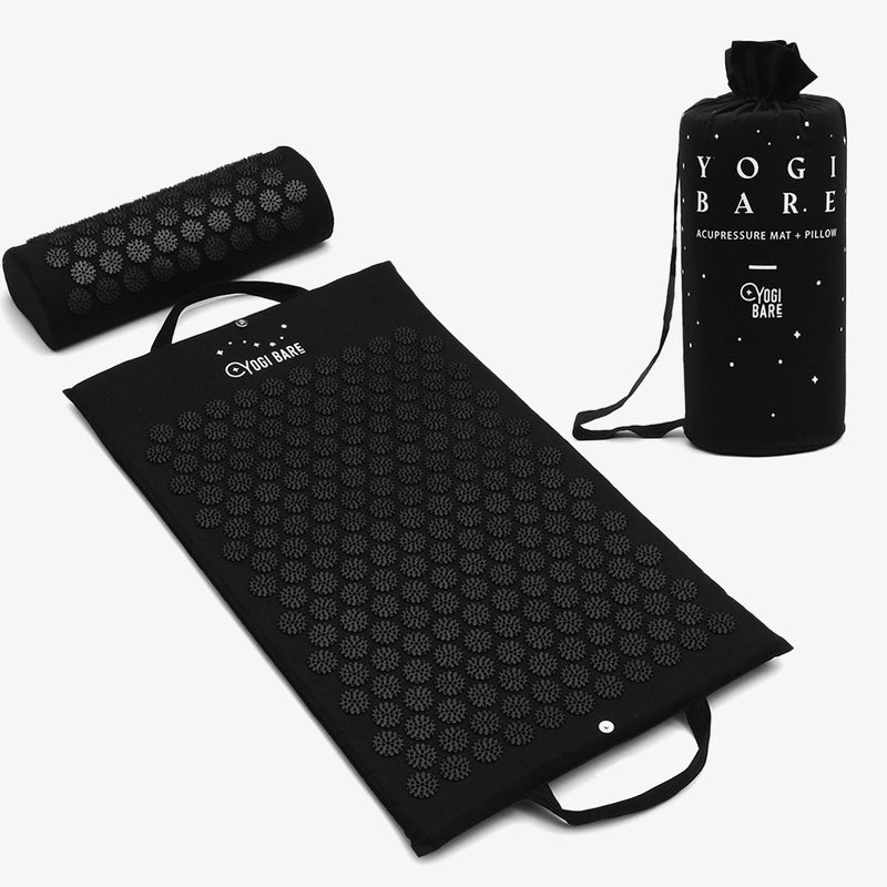 Acupressure mat pillow bag to relieve tension