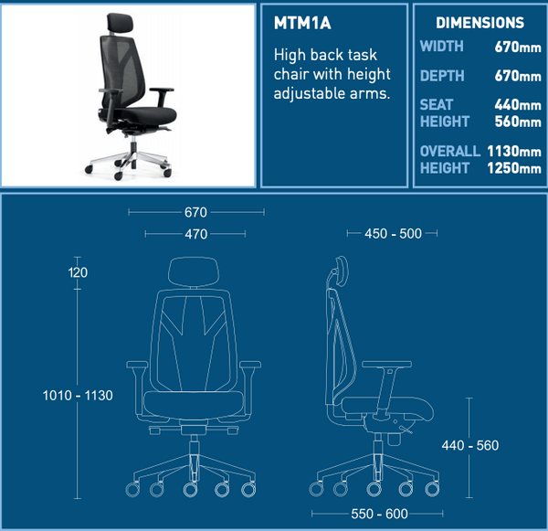 Desk chair specifications