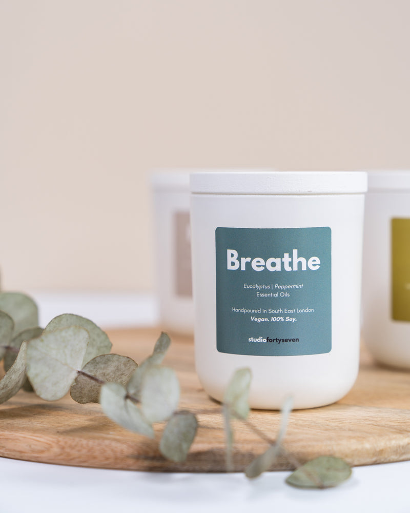 Studio Forty Seven Breathe hand made candle with eucalyptus, peppermint, essential oils