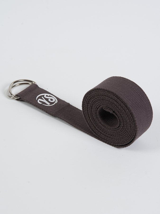 D-Ring Yoga Belt Strap Metal Ring Buckle Brown