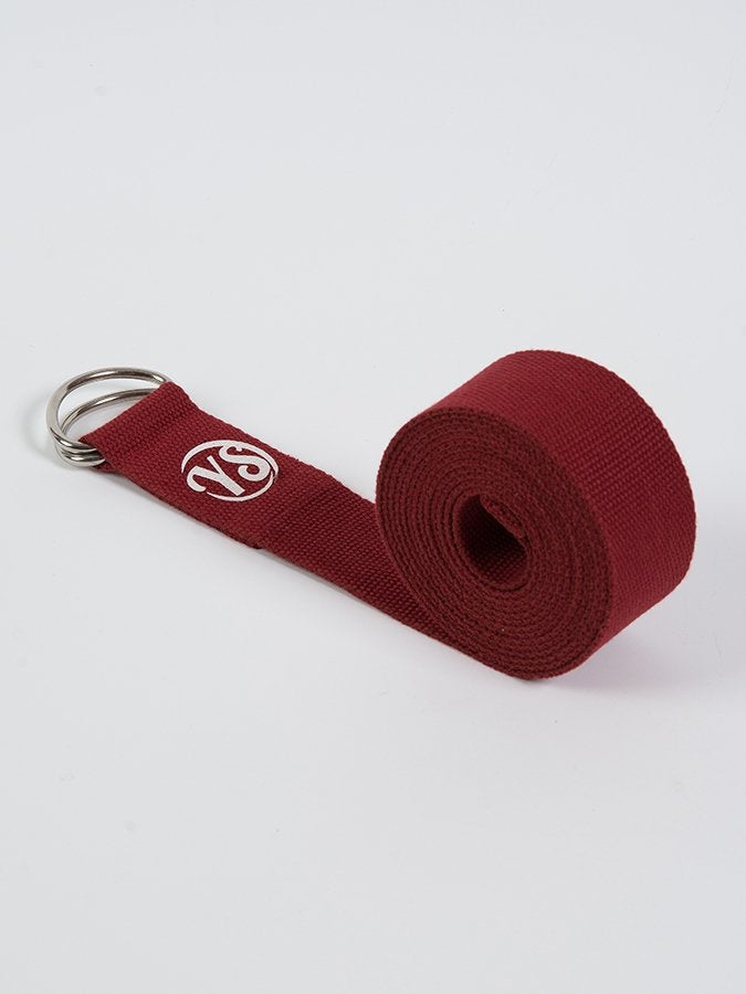 D-Ring Yoga Belt Strap Metal Ring Buckle Burgundy