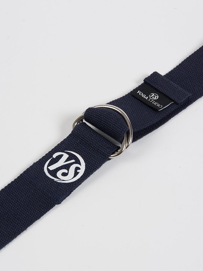 D-Ring Yoga Belt Strap Metal Ring Buckle Navy Blue