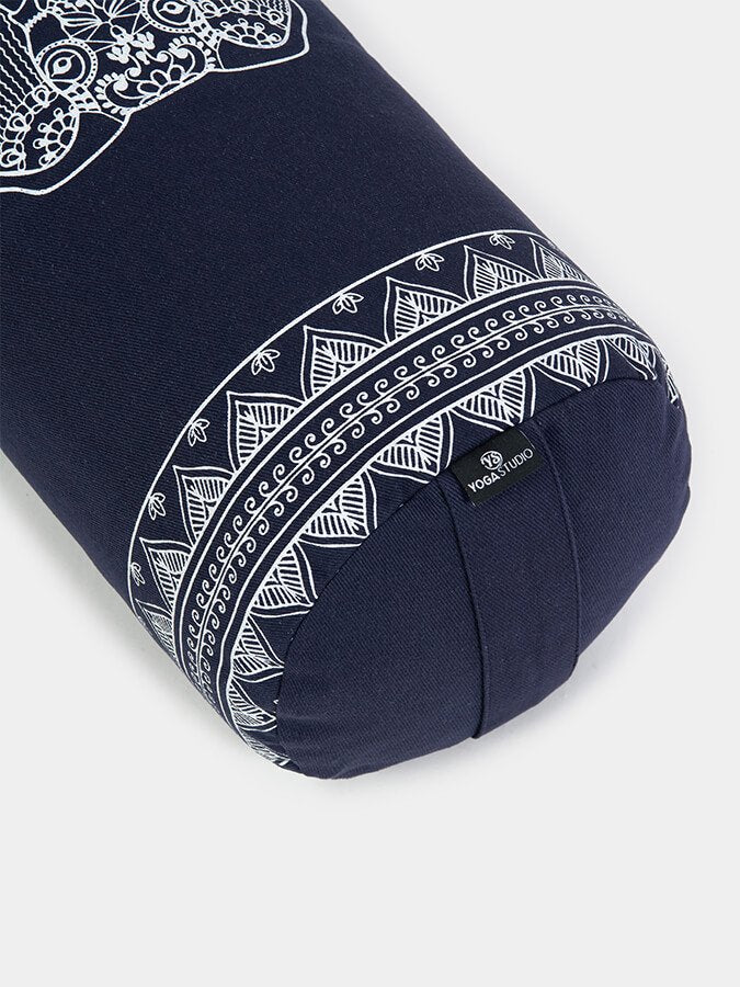 Organic Buckwheat Bolster aztec elephant design midnight blue