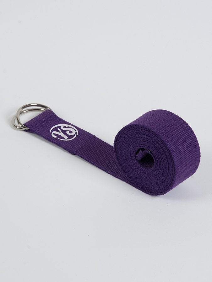 D-Ring Yoga Belt Strap Metal Ring Buckle Purple