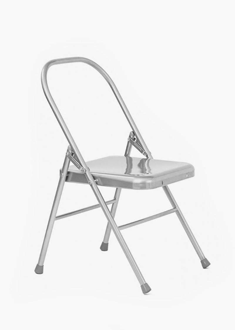 Yoga Studio Folding Yoga Chair With Front Bar Silver