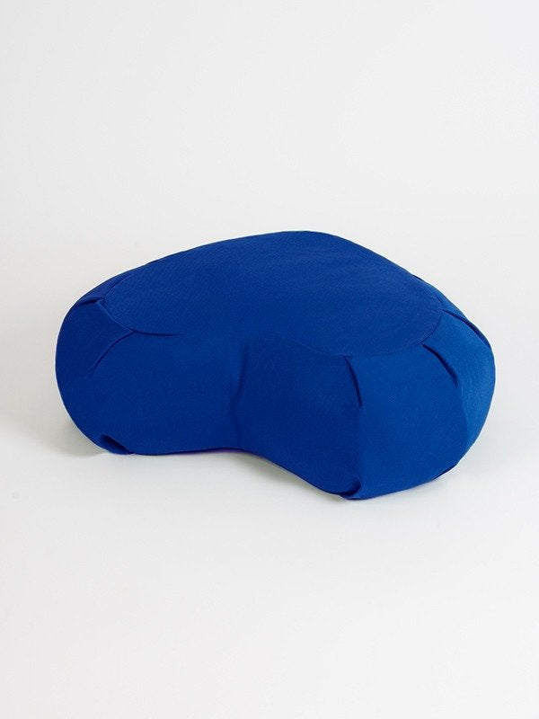 European Crescent Zafu Organic Meditation Cushion Sapphire Blue