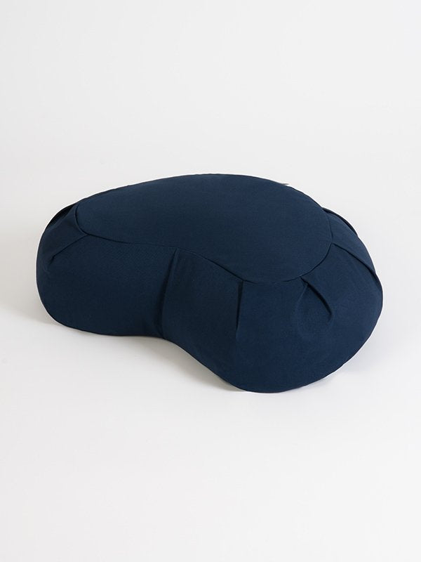 European Crescent Zafu Organic Meditation Cushion Navy Blue