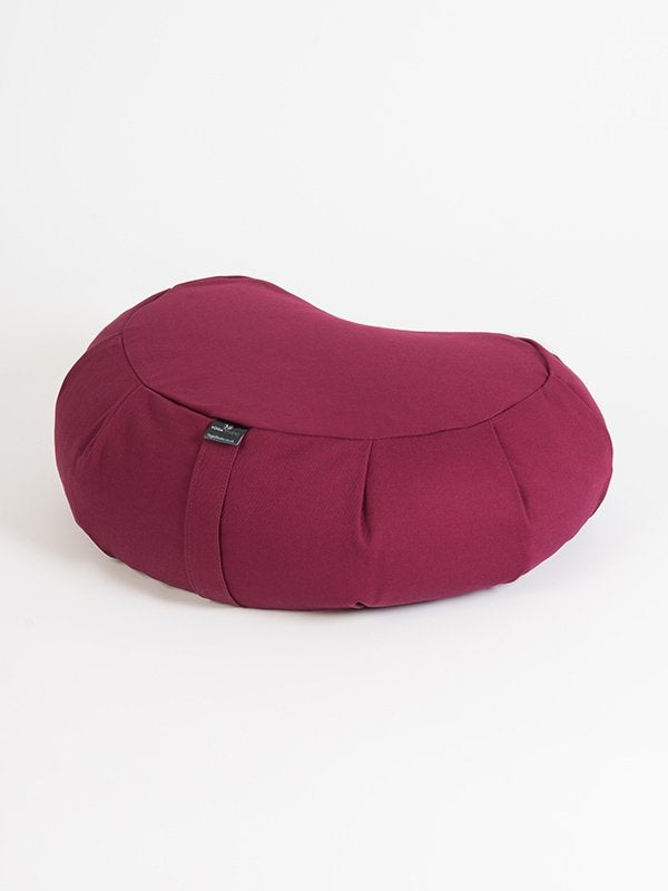 European Crescent Zafu Organic Meditation Cushion BurgundyEuropean Crescent Zafu Organic Meditation Cushion Burgundy