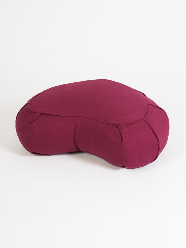 European Crescent Zafu Organic Meditation Cushion Burgundy