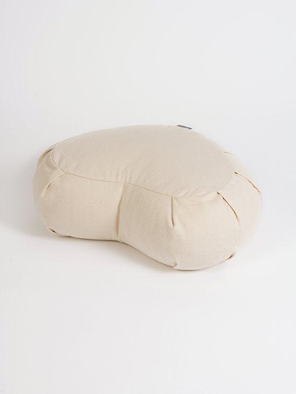 European Crescent Zafu Organic Meditation Cushion Natural White