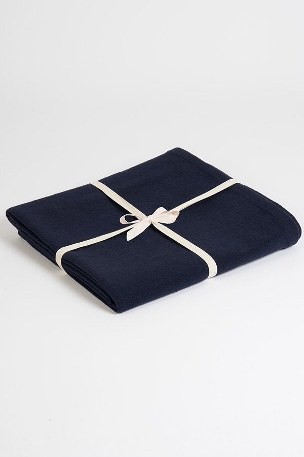 Organic Natural Cotton Yoga Blanket Navy Blue