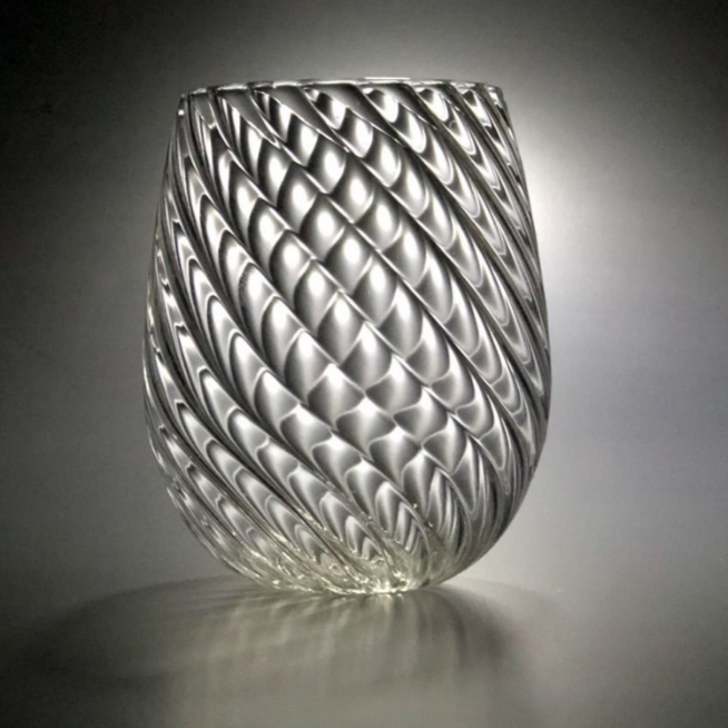 "Torchon ribbed glass - ""Twisted"""