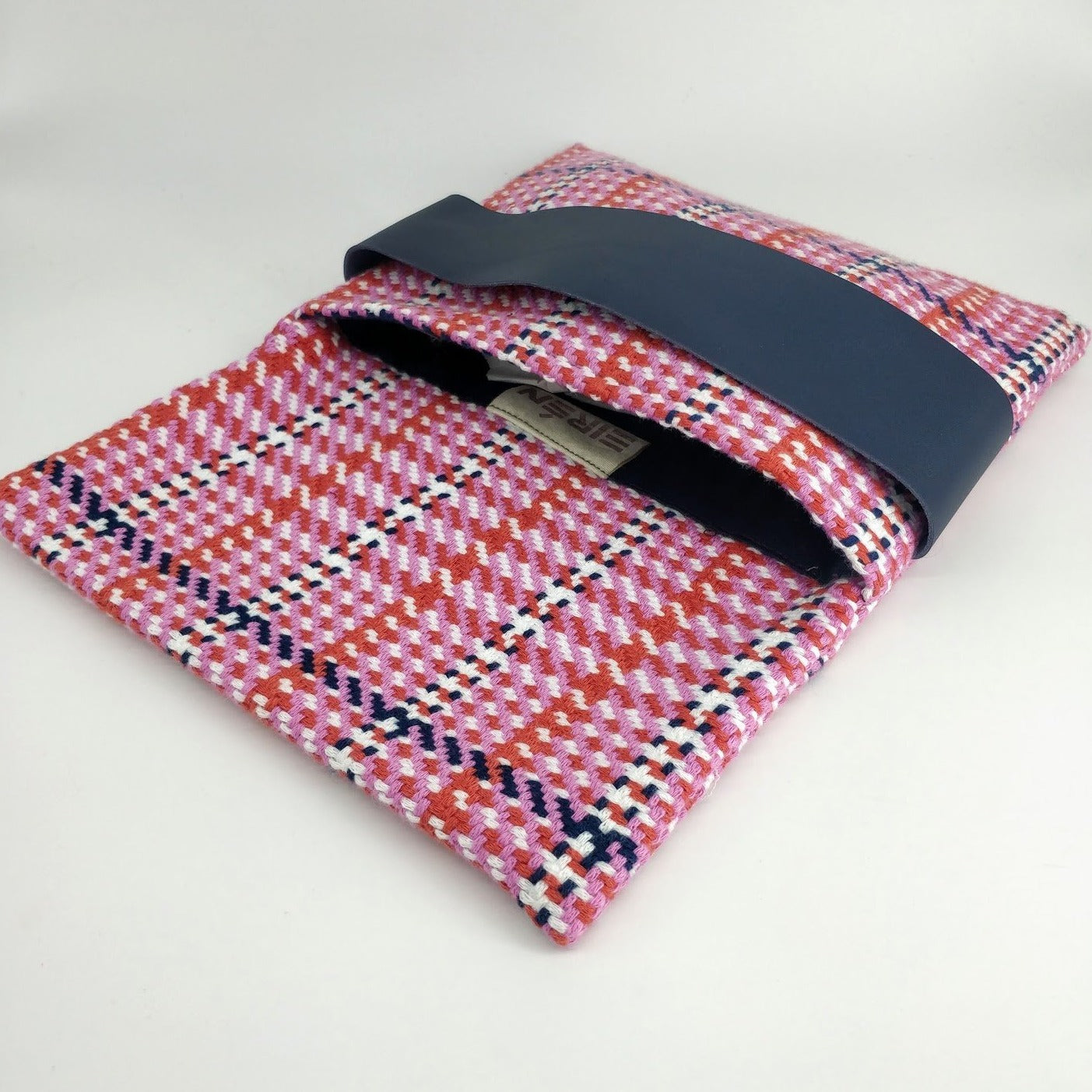 Ribbon pink tartan clutch bag