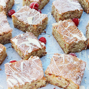 Irresistible White Chocolate & Raspberry Tray Bake
