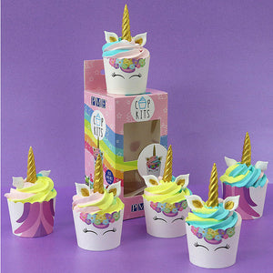 6 Unicorn Cupcake Cases and Toppers Kit