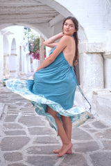 Halter neck dress with open back photographed in the Greek Islands
