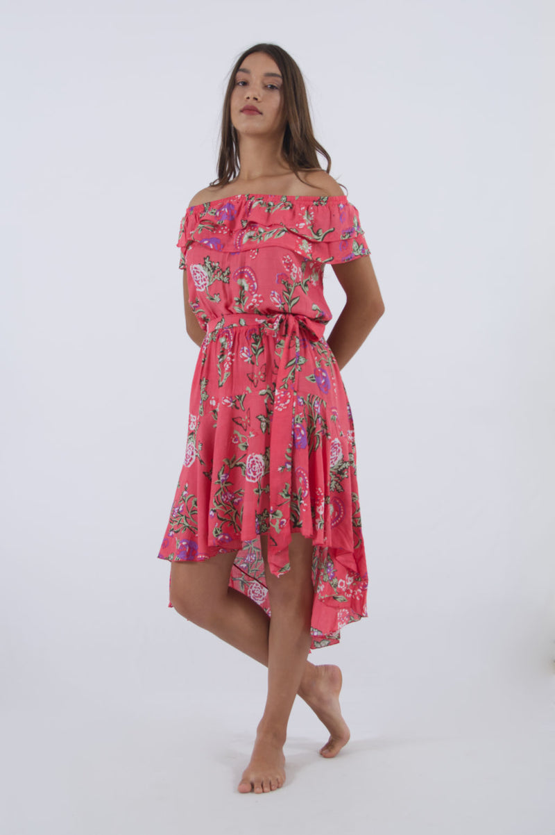 "Our model is wearing ""Cinderella"" strapless high low dress in pink floral."