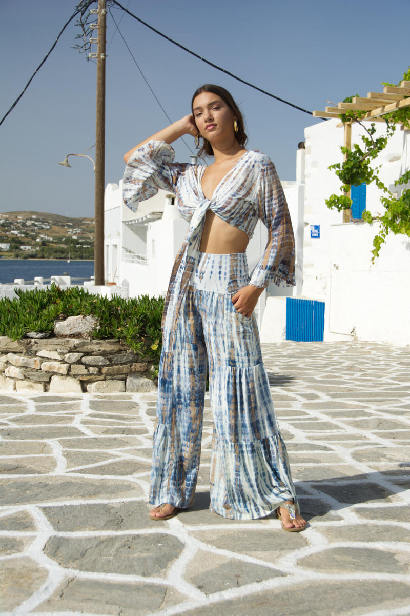 Gypsy Long Pants Cream Blue Tie Dye
