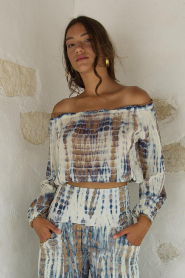 Gypsy Top Cream Blue Tie Dye