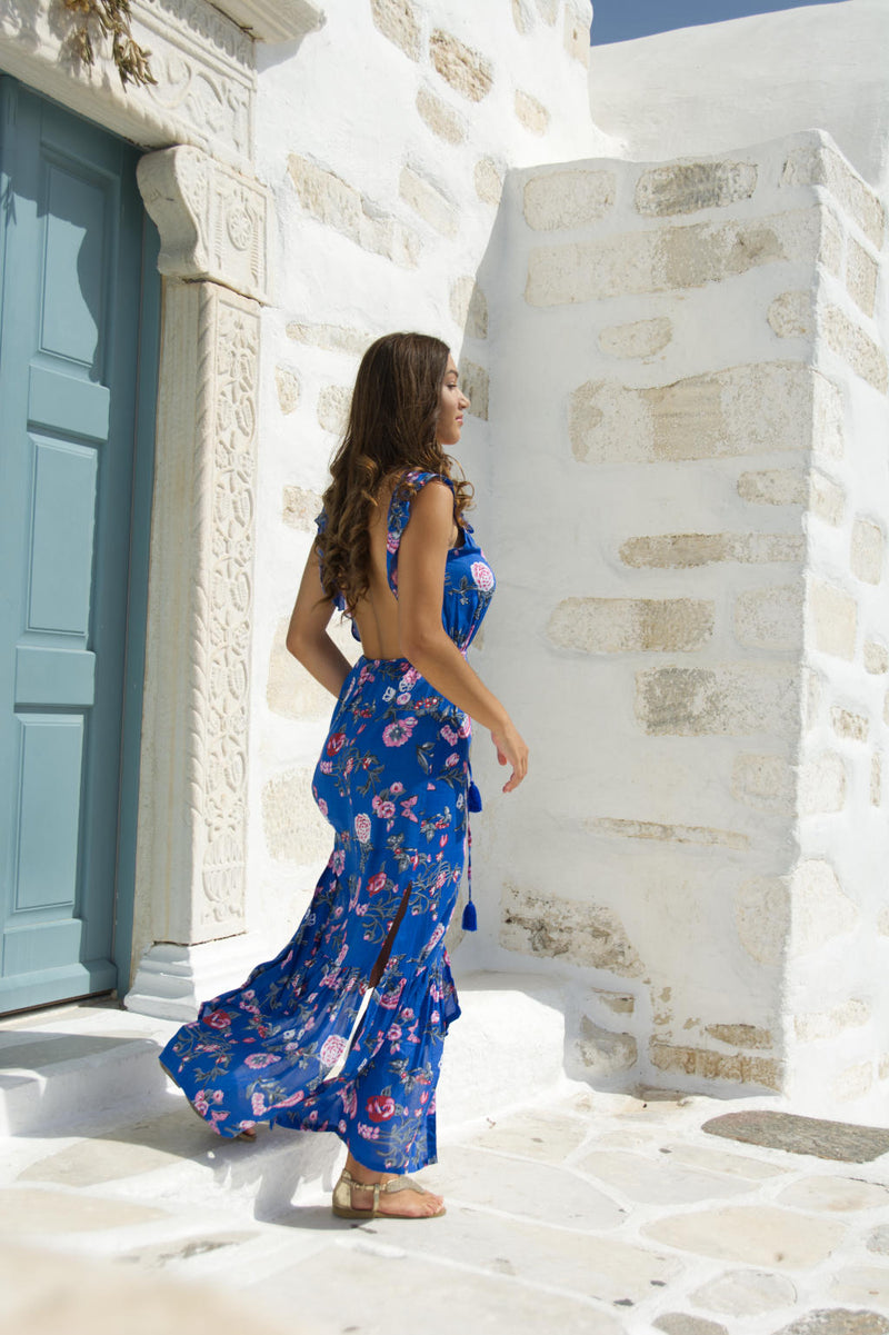 Gazelle Blue, maxi long dress with sexy back out