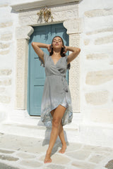 Dress Wrap Side, stone grey