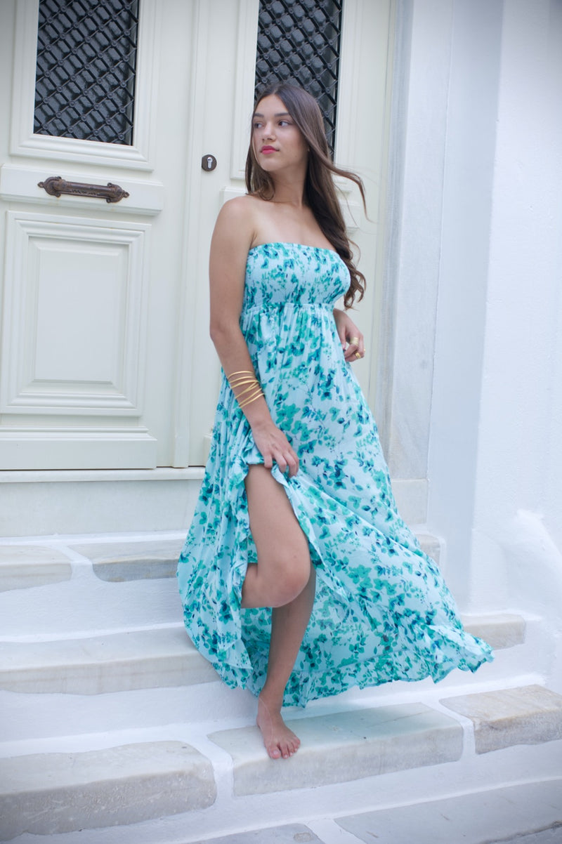 Glamour Long floral dress with strap back