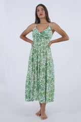 Our Grease spaghetti strap dress, long in green floral print, by Greek designer.