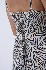 Summer dress adjustable from the back,  zebra print with spaghetti straps. Designed on the Greek island of Paros.