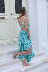 Our Glamour Long dress with a backless cut in blur floral print.