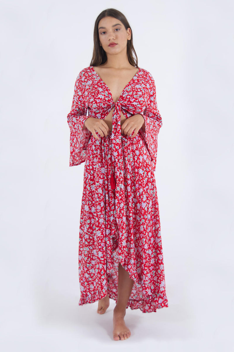 Image of long summer dress with sleeves, in red floral pattern.