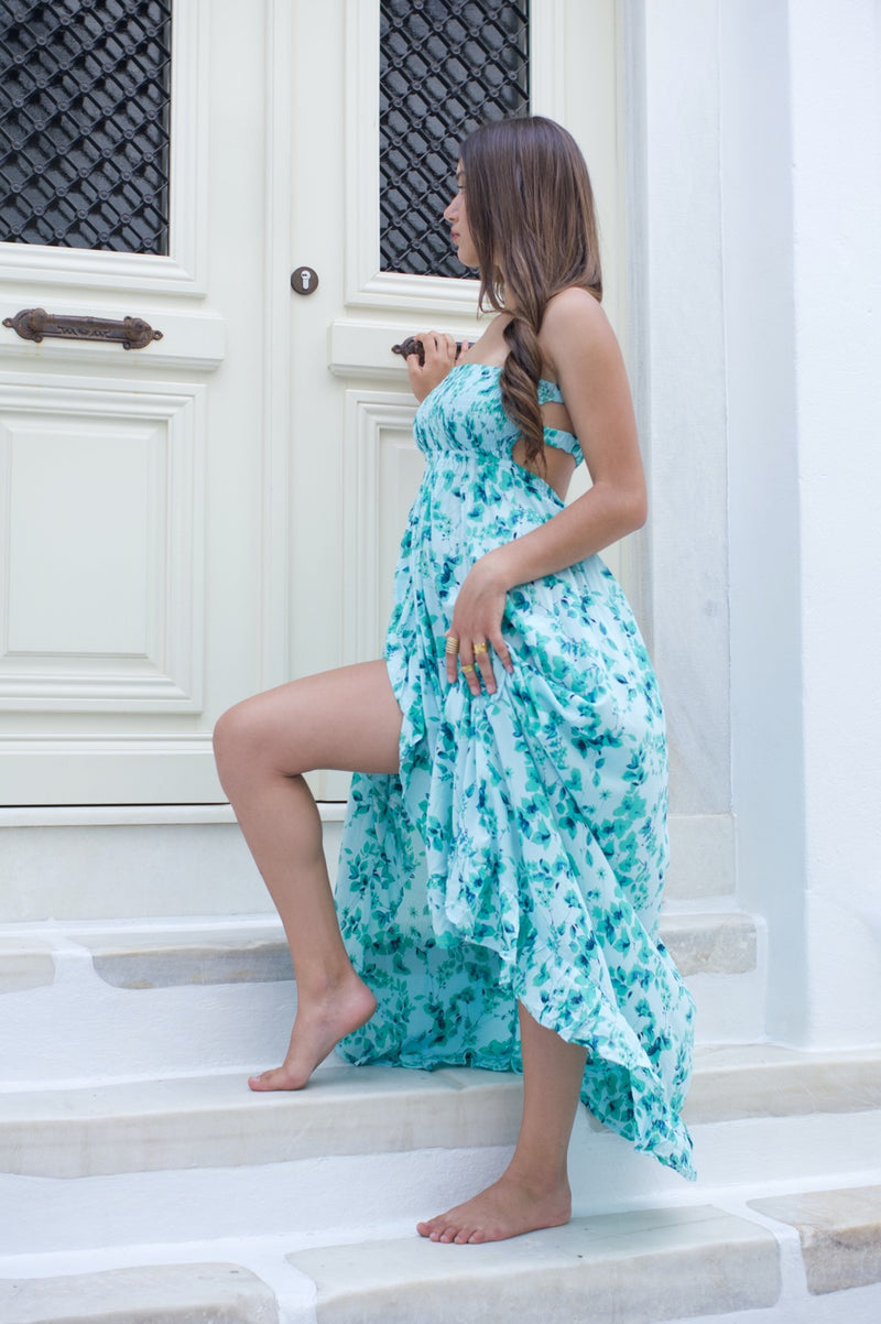 Long floral summer dress with open back in blue shades - side view