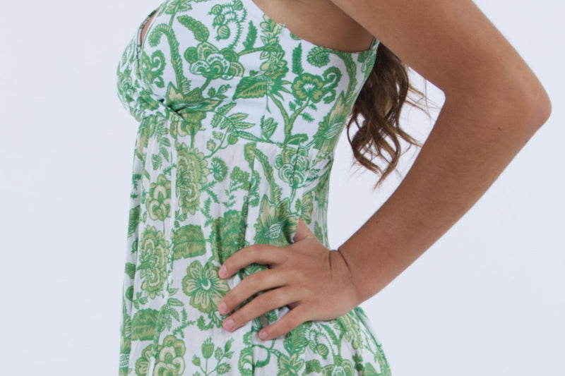 Detail of our casual long summer dress in green floral, by Greek designer Voila Summer Fashion.