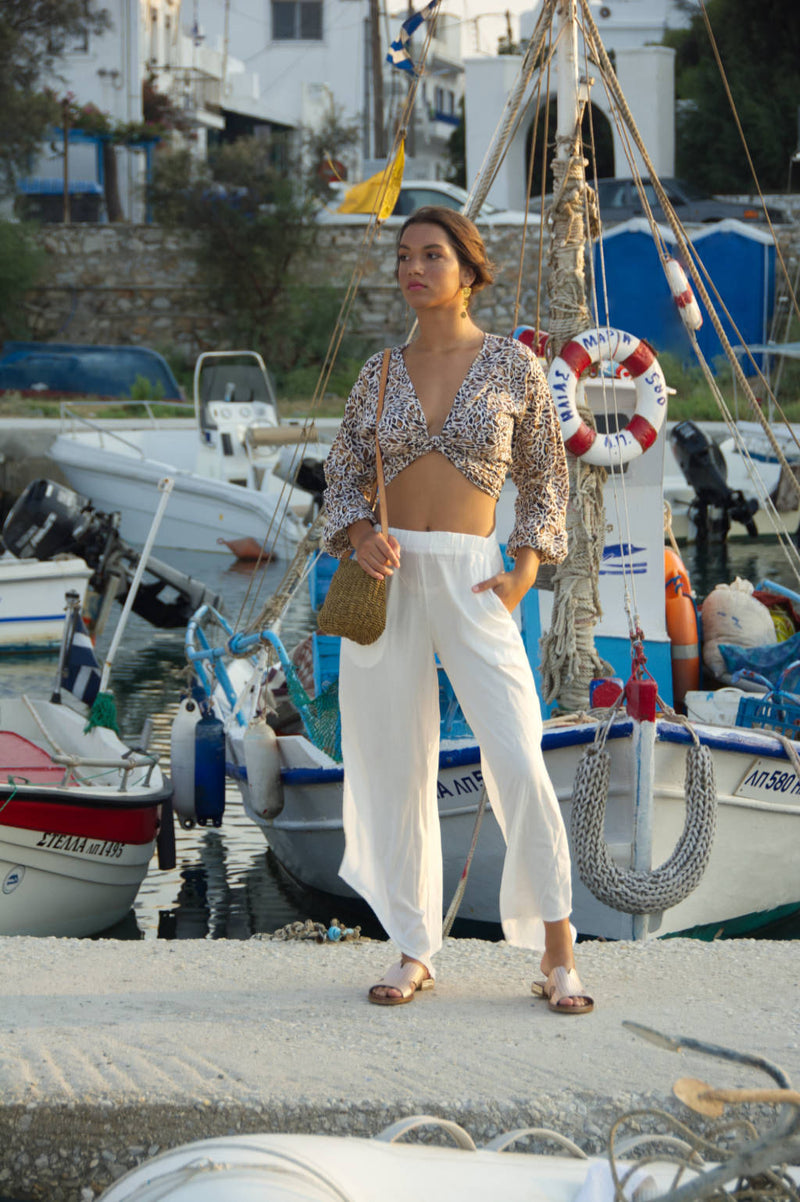 Comfortable summer pants, white with elastic waist
