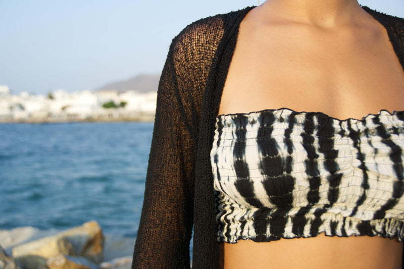 Ow! sheer shrug, black