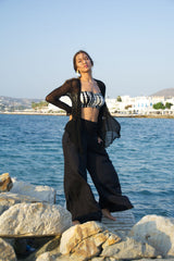 Elastic waist trousers for the summer, wide leg, black rayon