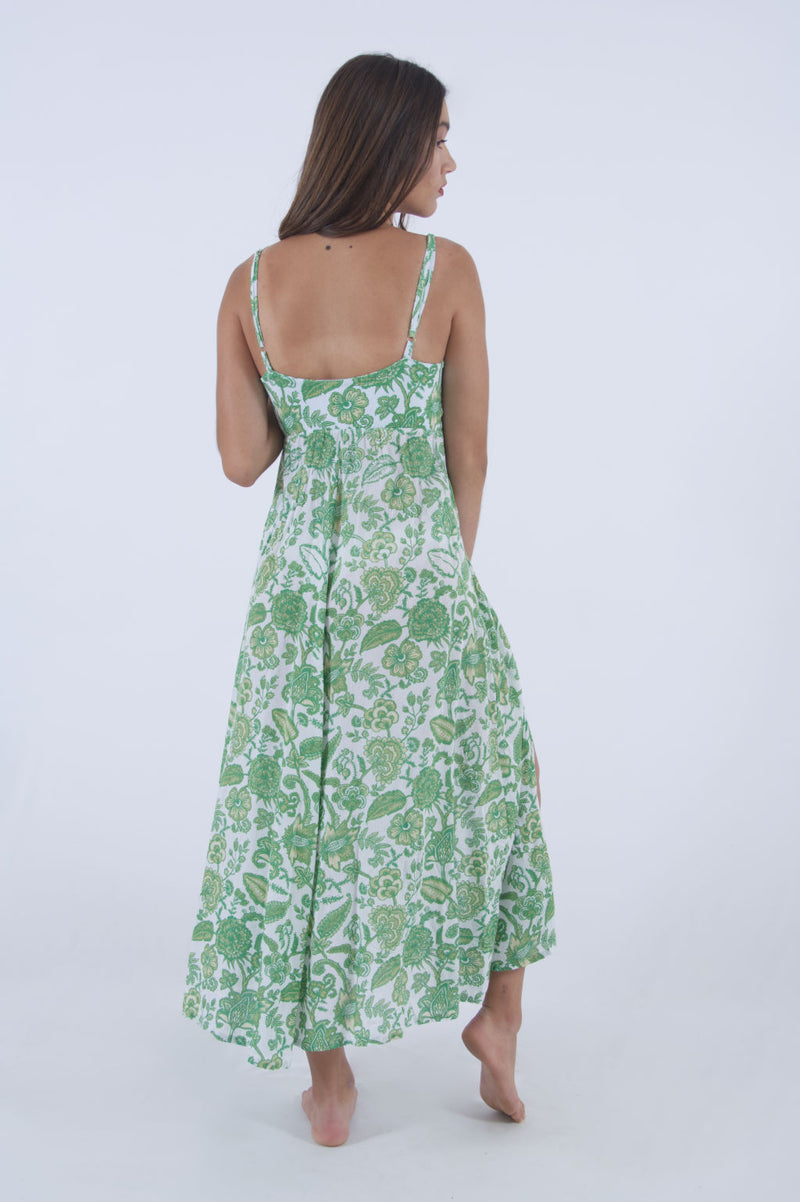 Flowy summer dress in green floral pattern, long with spaghetti straps - by Greek designer Voila Summer Fashion.