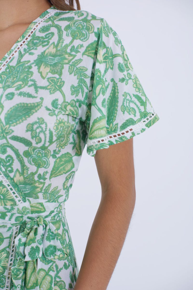 Sleeve detail of our Palma green floral dress.