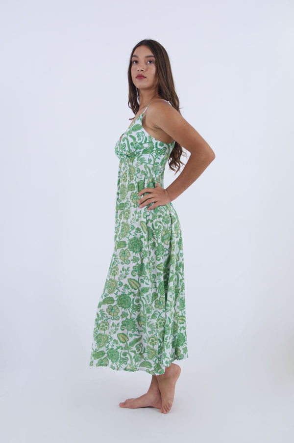 Side view of green floral summer dress, long and sleeveless ideal for hot summer days - by Greek designer Voila Summer Fashion.