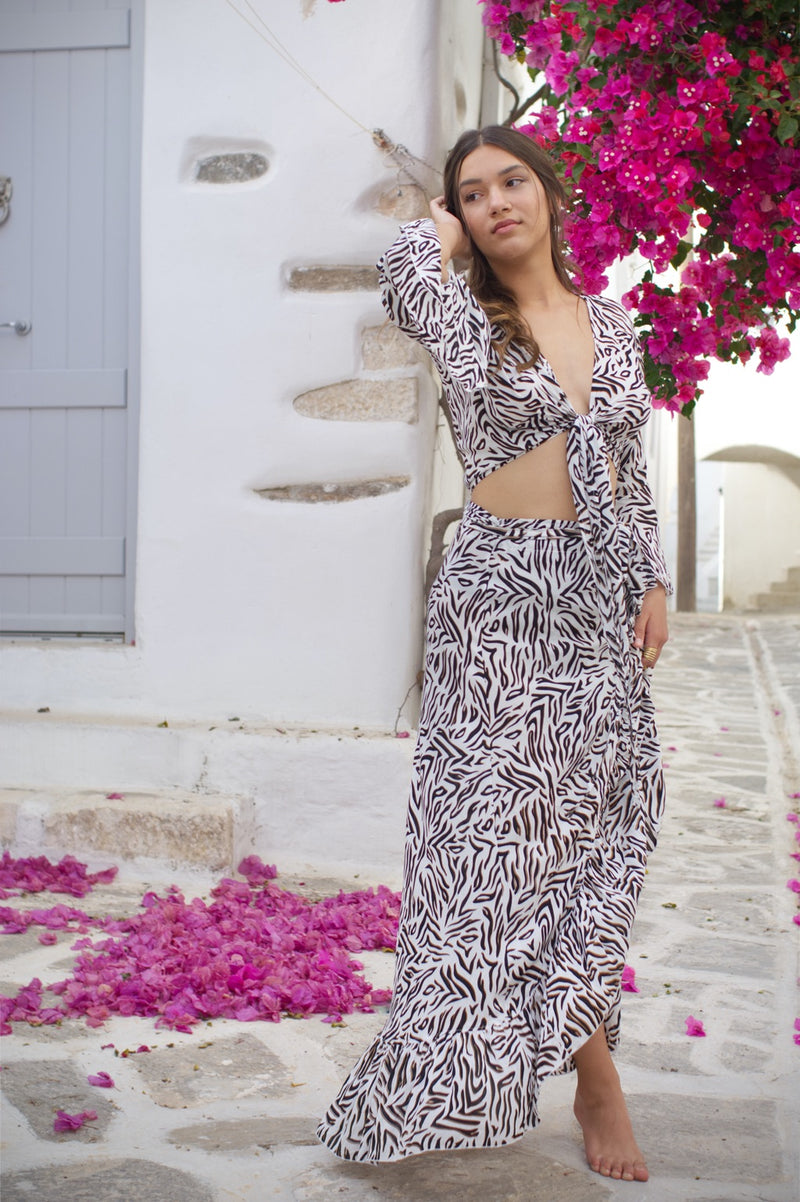 Gypsy skirt in zebra pattern with matching top. Model photographed on the Greek island of Paros.
