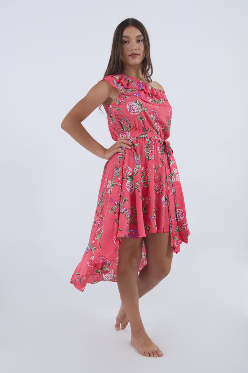 Our Cinderella high low dress with ruffle off shoulder in pink floral pattern.
