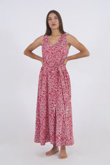 Image of long summer dress in red leaf pattern made of rayon.